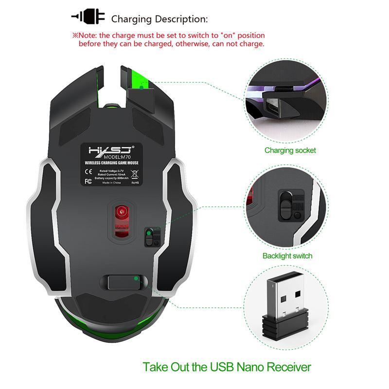 HXSJ-Nouvelle-souris-sans-fil-M70GY-2-4G-6D-coloree-sans-fil-rechargeable-Sou-38 miniature 11