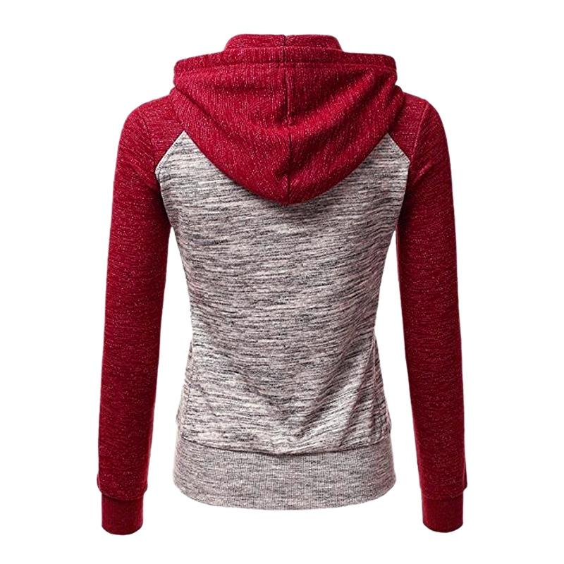 2X-Sweat-Shirt-Veste-Manteau-a-Capuche-Patchwork-a-Zip-D-039-Automne-Pour-Femme-U8Z3 miniature 3