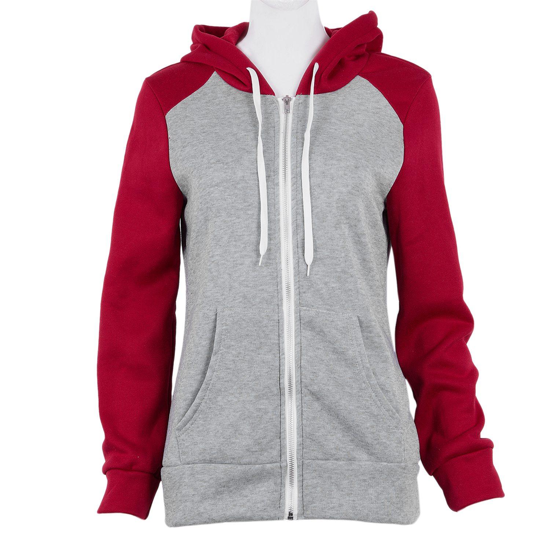 2X-Sweat-Shirt-Veste-Manteau-a-Capuche-Patchwork-a-Zip-D-039-Automne-Pour-Femme-U8Z3 miniature 4