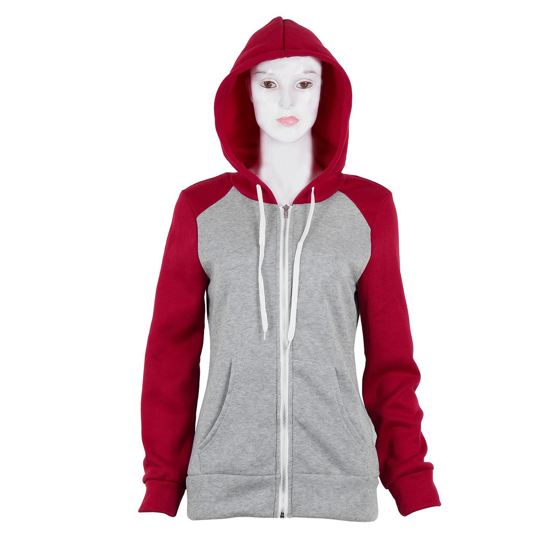 2X-Sweat-Shirt-Veste-Manteau-a-Capuche-Patchwork-a-Zip-D-039-Automne-Pour-Femme-U8Z3 miniature 6