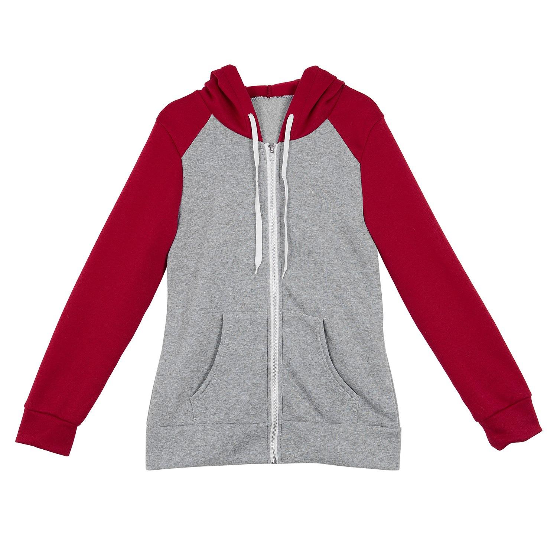 2X-Sweat-Shirt-Veste-Manteau-a-Capuche-Patchwork-a-Zip-D-039-Automne-Pour-Femme-U8Z3 miniature 9