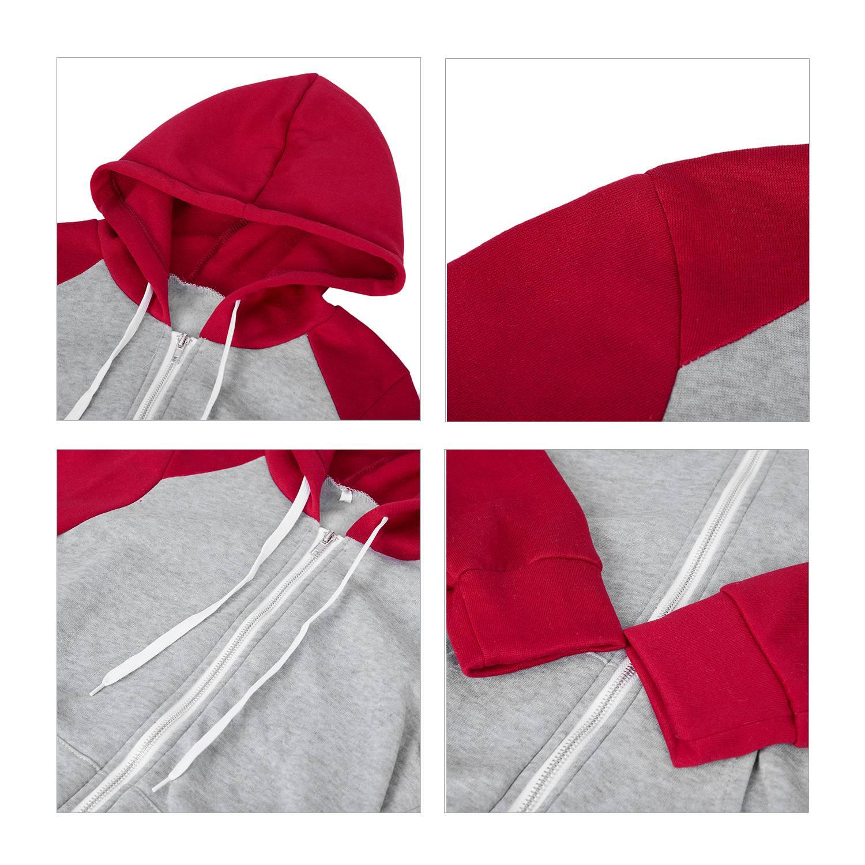 2X-Sweat-Shirt-Veste-Manteau-a-Capuche-Patchwork-a-Zip-D-039-Automne-Pour-Femme-U8Z3 miniature 11