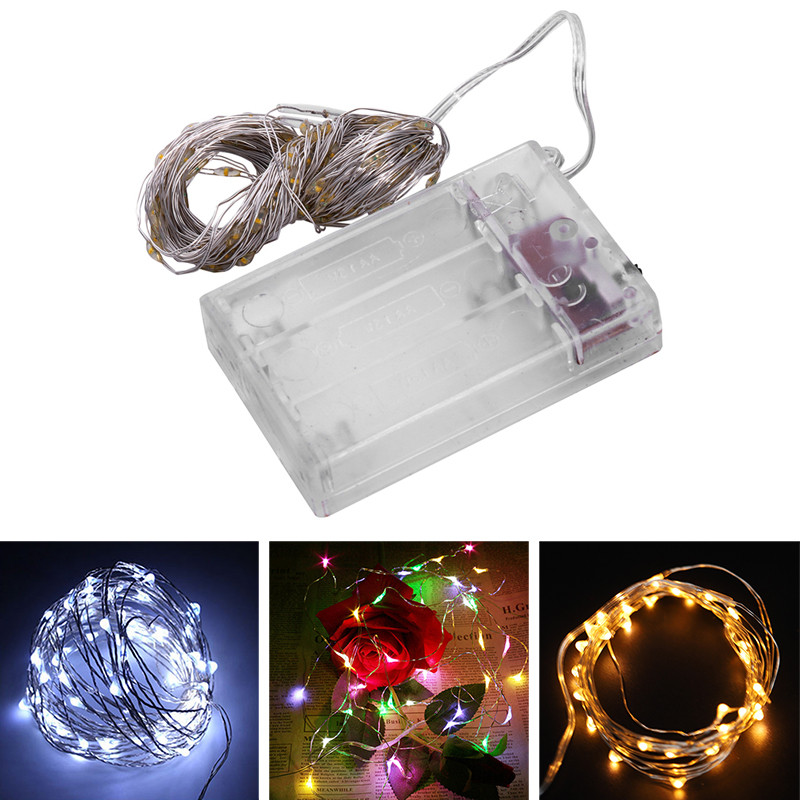Fairy-Lights-AA-Battery-Powered-10M-100-Leds-Silver-Led-Copper-Wire-String-X7F2