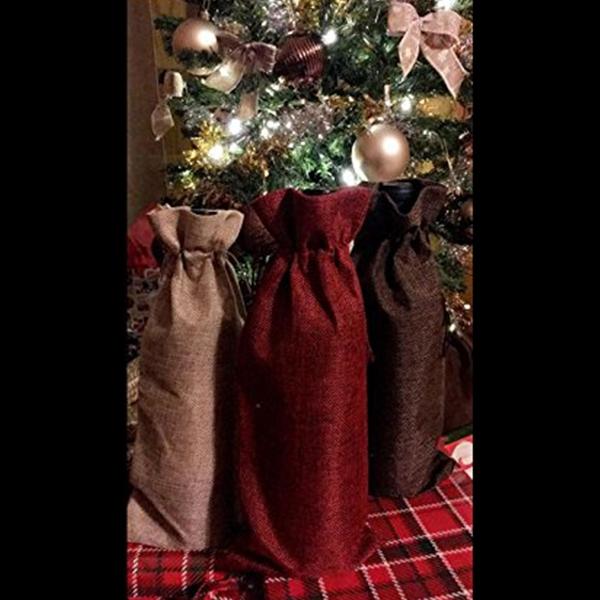 Fauge Bustine di Lino Tela 3 Pezzi 6 Pollice x 13.4 Pollice Sacchetti di Bottiglia 3PZ con Coulisse per bomboniera