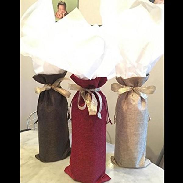 1X-Bustine-di-lino-tela-sacchetti-di-bottiglia-3PZ-con-coulisse-per-bombon-X4X3 miniatura 6