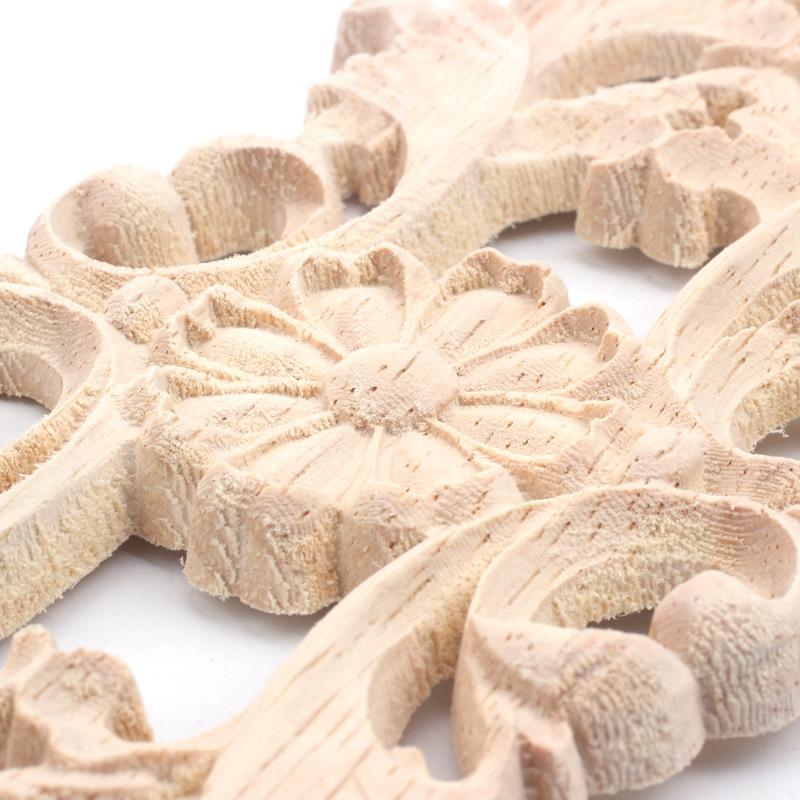 Home Storage & Organization Home & Garden 22.5*8cm Rubber Wood Carved Applique Retro Furniture Crafts Decor New