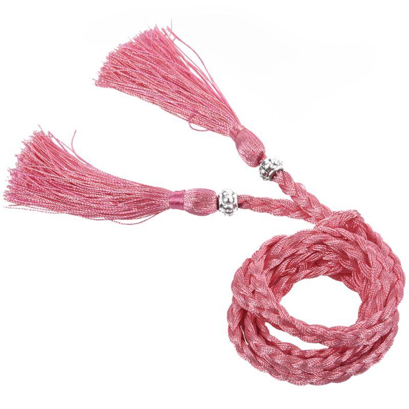 Woven-Pompon-Ceinture-Noeud-Decore-Taille-Chaine-Taille-Corde-P5N3 miniature 27