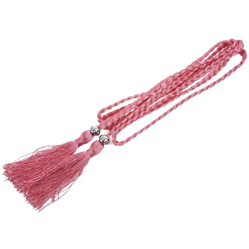 Woven-Pompon-Ceinture-Noeud-Decore-Taille-Chaine-Taille-Corde-P5N3 miniature 30