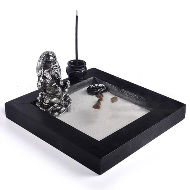 2x japonais karesansui mini zen jardin de table avec rateau cailloux et sabg5w2 ebay - Rateau jardin zen ...