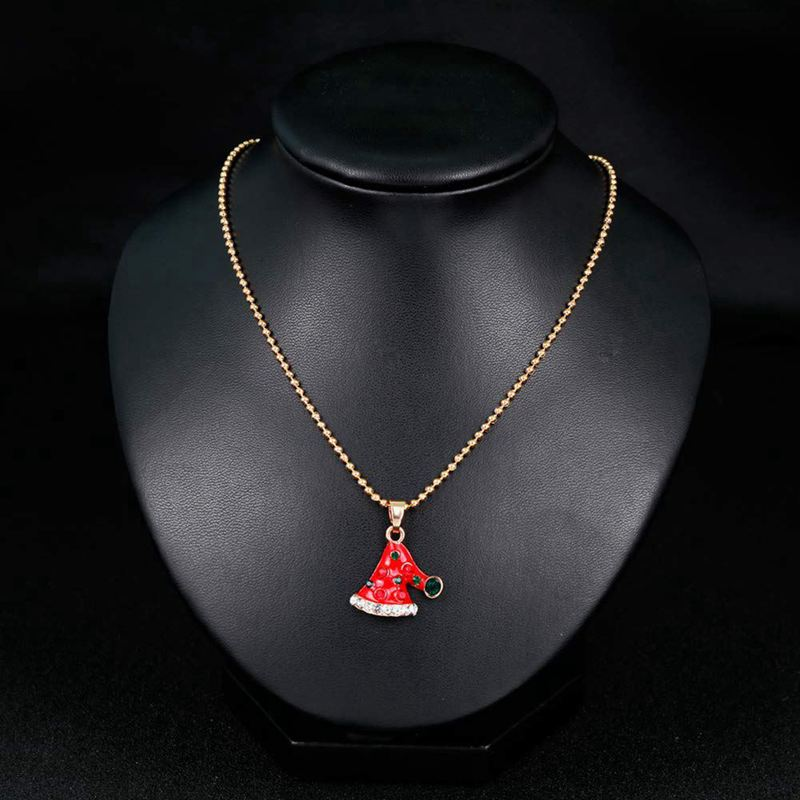 Gold Christmas Enamel Pendant Necklace for Women Girls W5F9 Christmas Necklaces