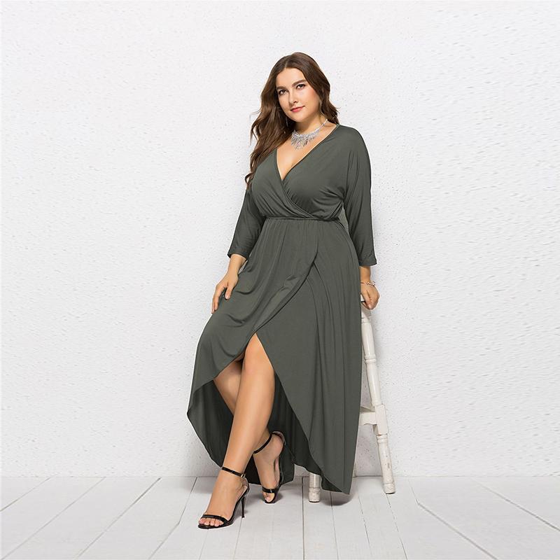 Women-Autumn-Plus-Size-Sexy-Long-Sleeve-Deep-V-neck-Maxi-Dress-Ladies-Elega-A6H7