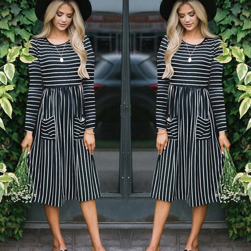 Women-O-Neck-Long-Sleeve-Striped-Print-Pockets-Midi-Dress-Ladies-Casual-U2V4 thumbnail 3