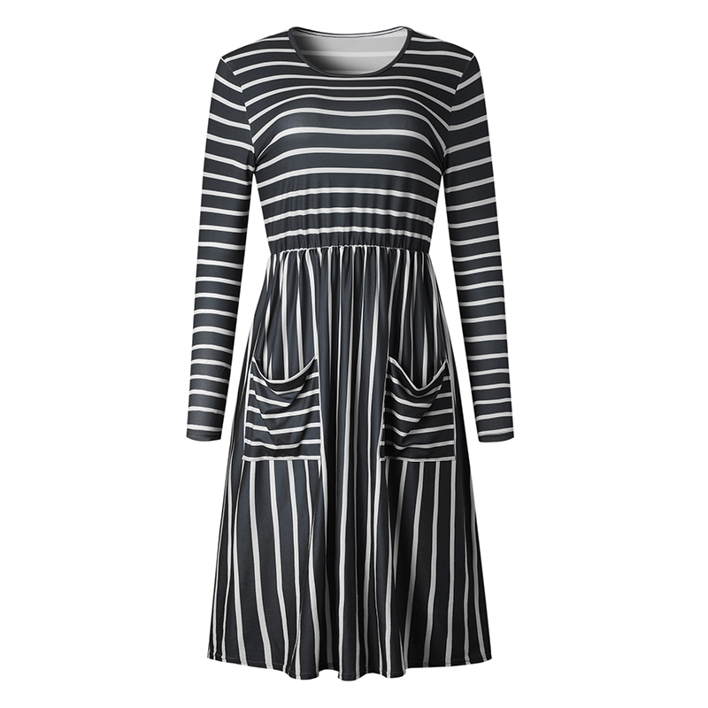 Women-O-Neck-Long-Sleeve-Striped-Print-Pockets-Midi-Dress-Ladies-Casual-U2V4 thumbnail 4