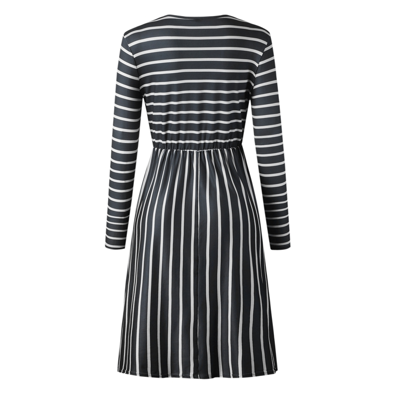 Women-O-Neck-Long-Sleeve-Striped-Print-Pockets-Midi-Dress-Ladies-Casual-U2V4 thumbnail 5