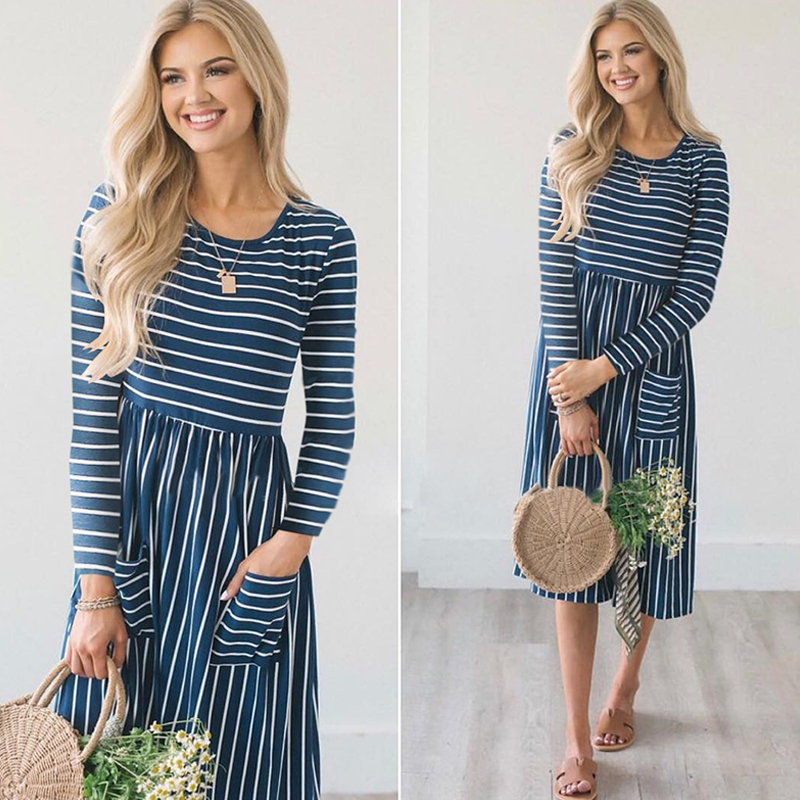 Women-O-Neck-Long-Sleeve-Striped-Print-Pockets-Midi-Dress-Ladies-Casual-U2V4 thumbnail 9