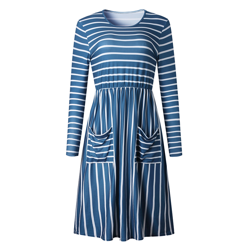 Women-O-Neck-Long-Sleeve-Striped-Print-Pockets-Midi-Dress-Ladies-Casual-U2V4 thumbnail 10
