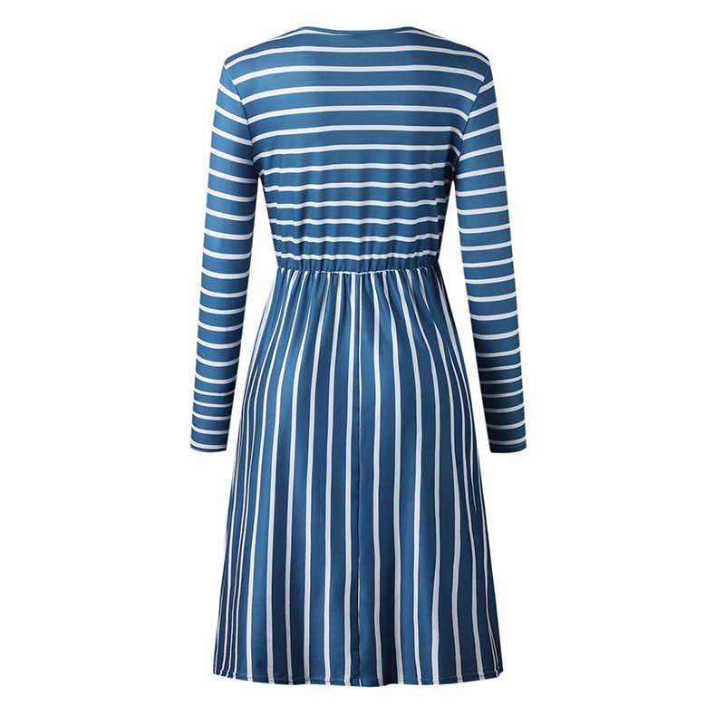 Women-O-Neck-Long-Sleeve-Striped-Print-Pockets-Midi-Dress-Ladies-Casual-U2V4 thumbnail 11