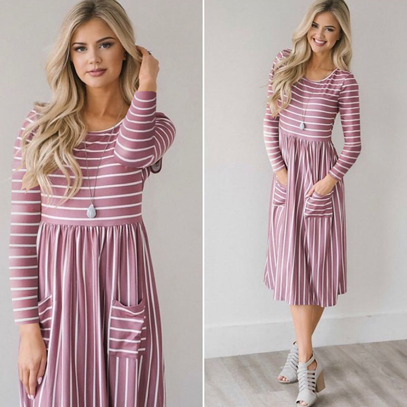 Women-O-Neck-Long-Sleeve-Striped-Print-Pockets-Midi-Dress-Ladies-Casual-U2V4 thumbnail 15