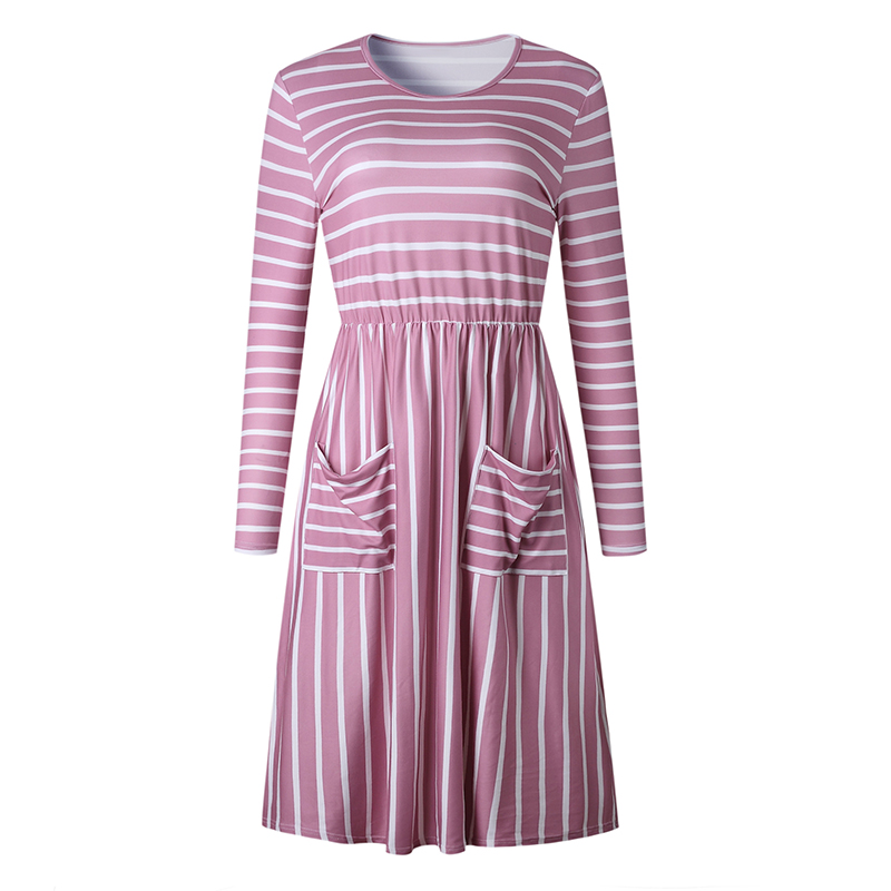 Women-O-Neck-Long-Sleeve-Striped-Print-Pockets-Midi-Dress-Ladies-Casual-U2V4 thumbnail 16