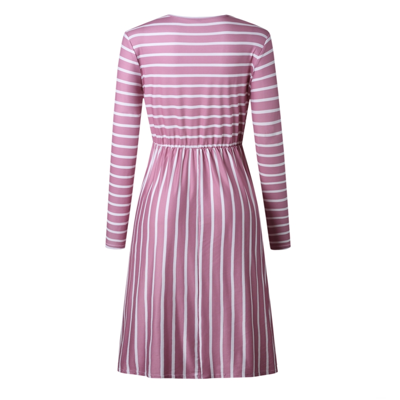 Women-O-Neck-Long-Sleeve-Striped-Print-Pockets-Midi-Dress-Ladies-Casual-U2V4 thumbnail 17