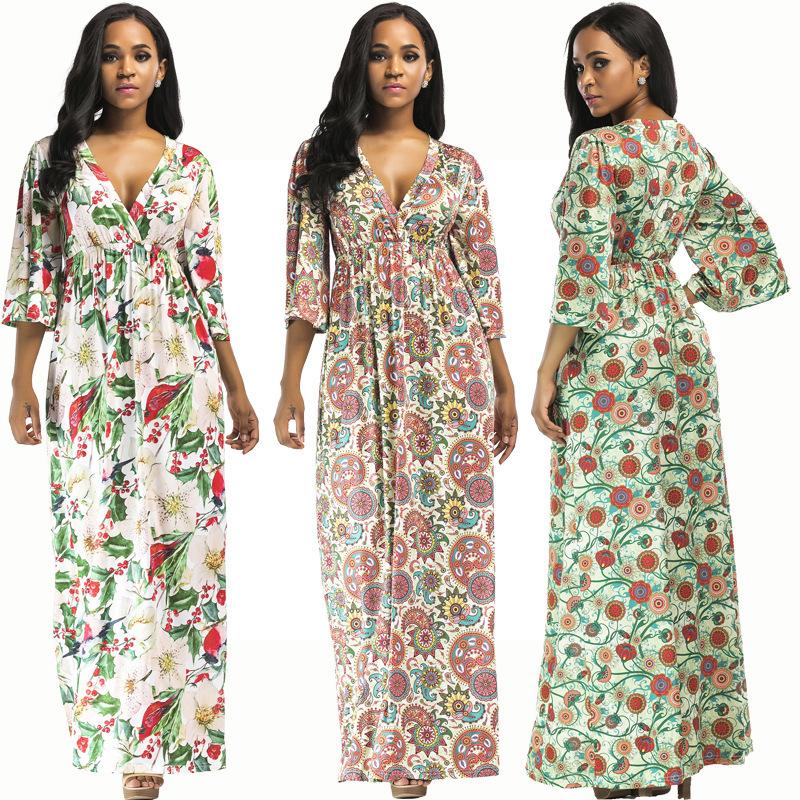 Autumn-Winter-Women-Plus-Size-Maxi-Dress-Floral-Print-Sexy-Female-Pleated-S-G6H1