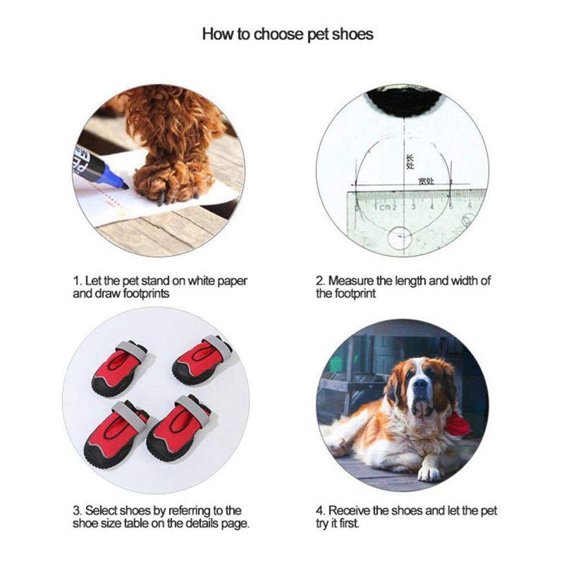 Indexbild 8 - Hund-Wanderschuhe-Pfoten-Schutz-Set-4-Hunde-Schuhe-Atmungsaktiv-Pfote-Hun-W5K8