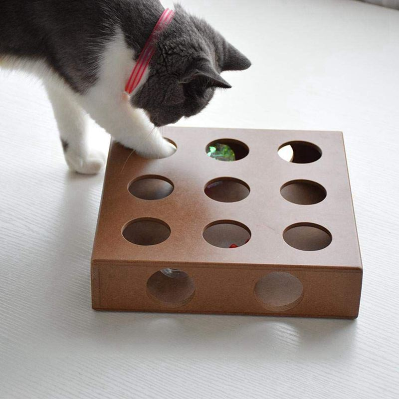Interactive Cat Toy Puzzle Box Wooden Peek Play Toy Box