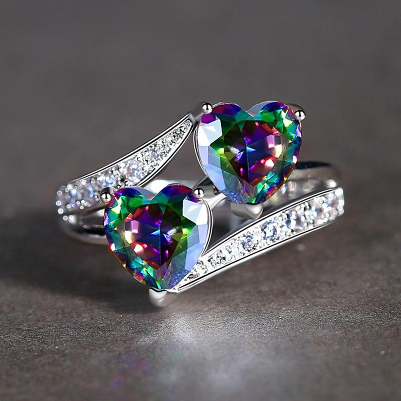 5X-Anillo-Del-Corazon-De-Compromiso-Colorido-Zircon-Cubico-Joya-De-Mujer-DeQ4R7 miniatura 5