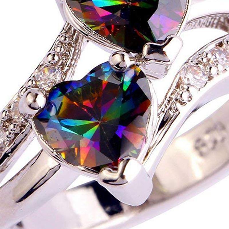 5X-Anillo-Del-Corazon-De-Compromiso-Colorido-Zircon-Cubico-Joya-De-Mujer-DeQ4R7 miniatura 8