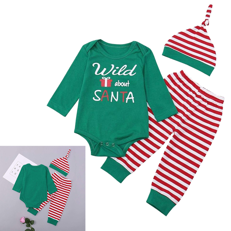 8dd30c9be381 Newborn Unisex Baby Christmas Santa Letter Print Long Sleeve Romper+ ...