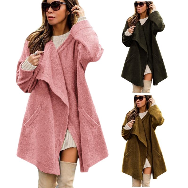 uk availability ed222 e3222 1X(Donna Inverno maniche lunghe Giacche Cardigan tasca ...