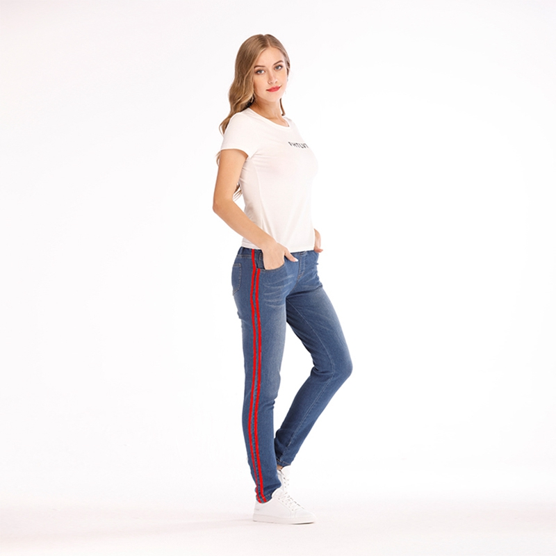 Women-Casual-Elastic-Waist-Stretch-Skinny-Jeans-Ladies-Pockets-Side-Striped-W-M1 thumbnail 8