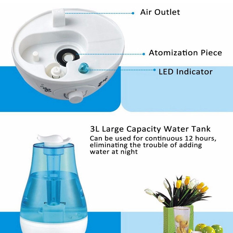 4X(3L Ultrasonic Air Humidifier Mini Aroma Humidifier Air Purifier with with with LED L Z5 194ce2