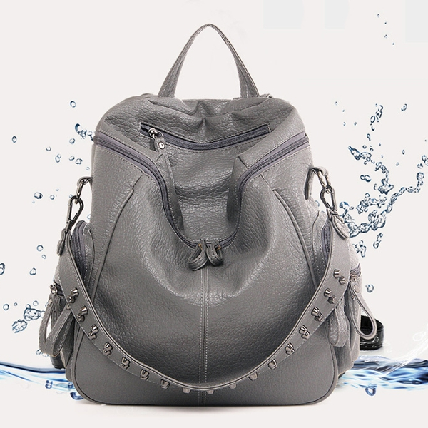 67bb023a4182 Women Backpack Purse 3 ways PU Washed Leather Rivet Studded Ladies ...