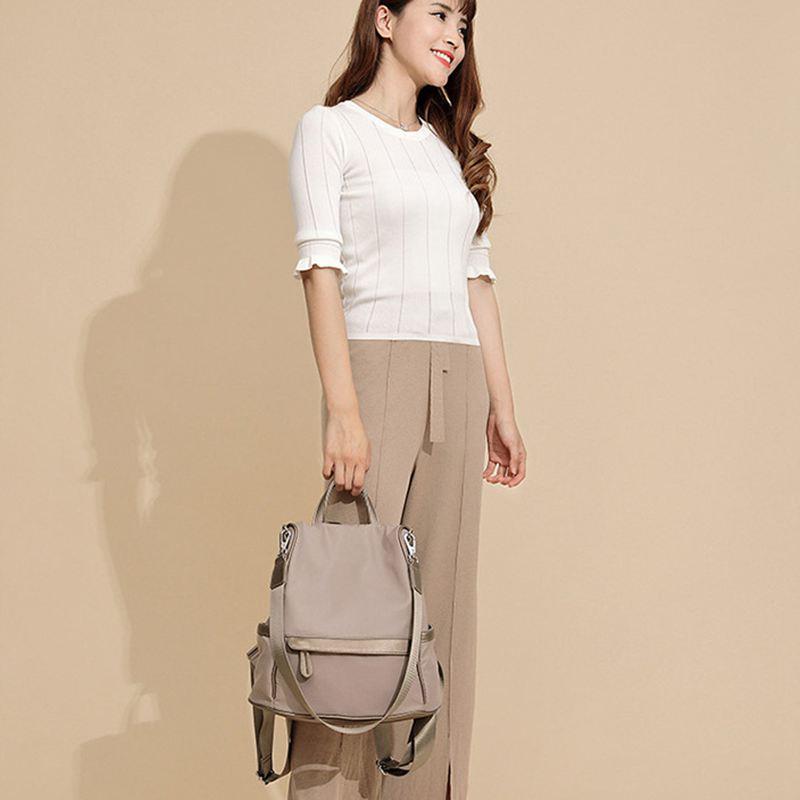 Sac-A-Dos-pour-Femme-Bourse-en-Nylon-Decontractee-Convertible-A-La-Mode-Sac-J5B4 miniature 6