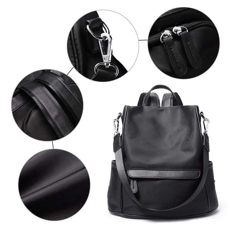 Sac-A-Dos-pour-Femme-Bourse-en-Nylon-Decontractee-Convertible-A-La-Mode-Sac-J5B4 miniature 10