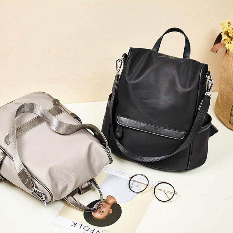 Sac-A-Dos-pour-Femme-Bourse-en-Nylon-Decontractee-Convertible-A-La-Mode-Sac-J5B4 miniature 14