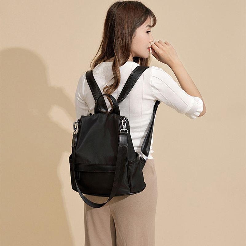 Sac-A-Dos-pour-Femme-Bourse-en-Nylon-Decontractee-Convertible-A-La-Mode-Sac-J5B4 miniature 15