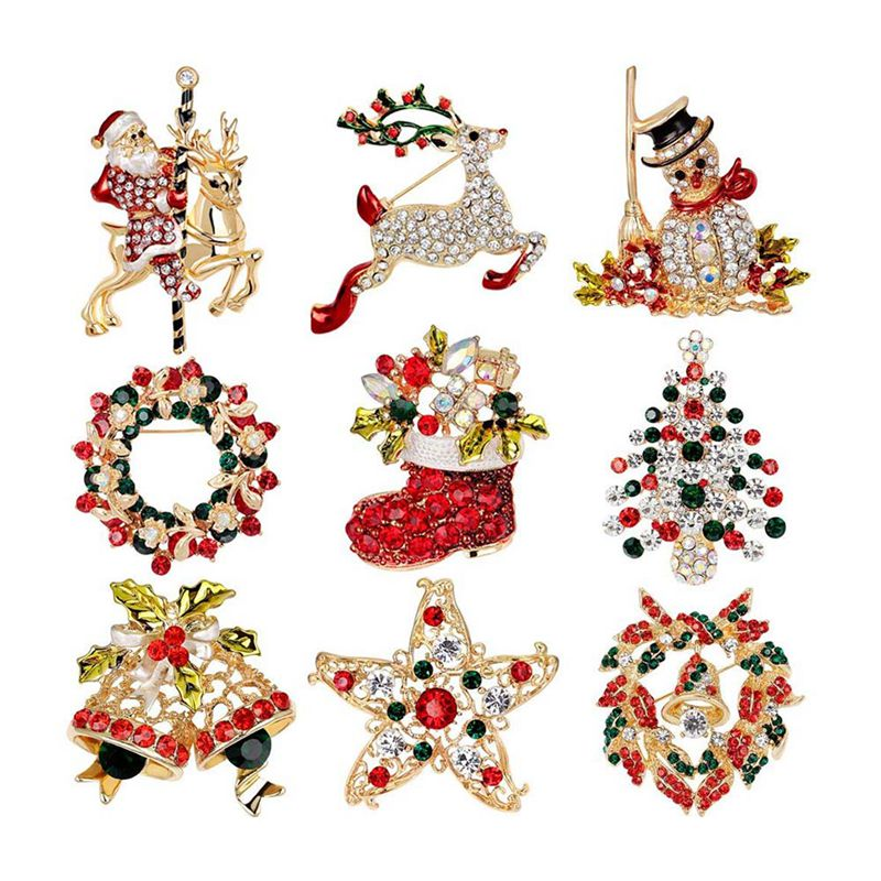 10X(Paquet De 9 Ensemble De Broches et D'Epingle De Noel MultiFarbees,Cadea 4W9)