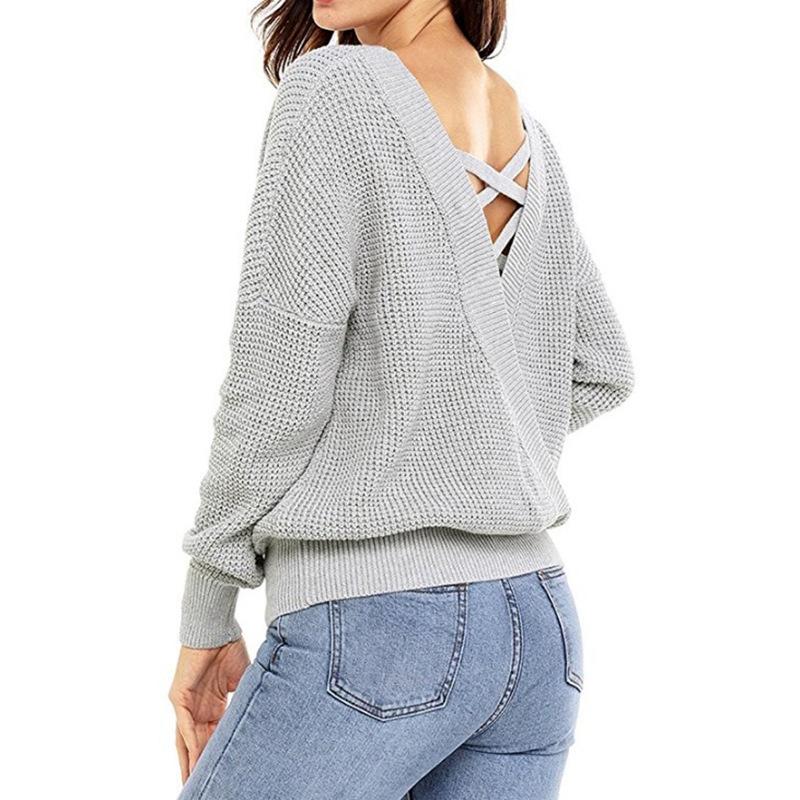 Mode-Femmes-Automne-Hiver-A-Manches-Longues-Sexy-Chandail-En-Tricot-Chandai-C7P1 miniature 4