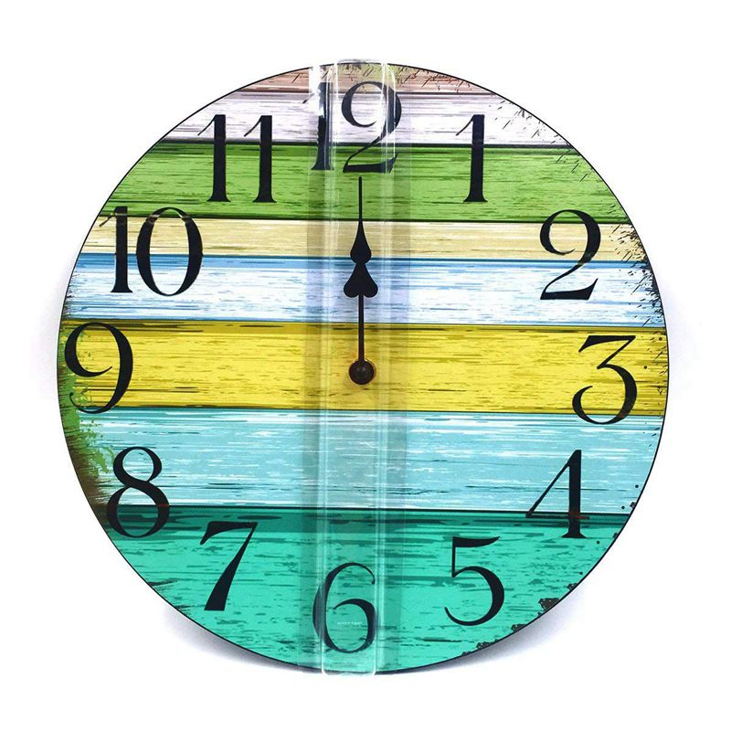 1X(12 inch Vintage Rustic Country Tuscan Style Decorative Round Wall Clock S6V6) 2
