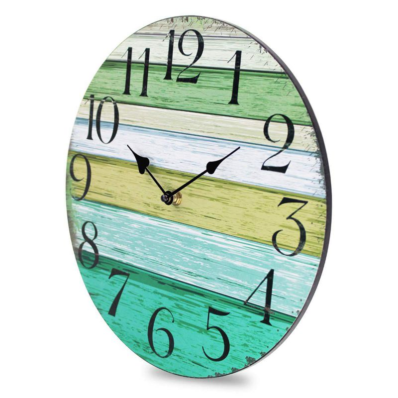1X(12 inch Vintage Rustic Country Tuscan Style Decorative Round Wall Clock S6V6) 4