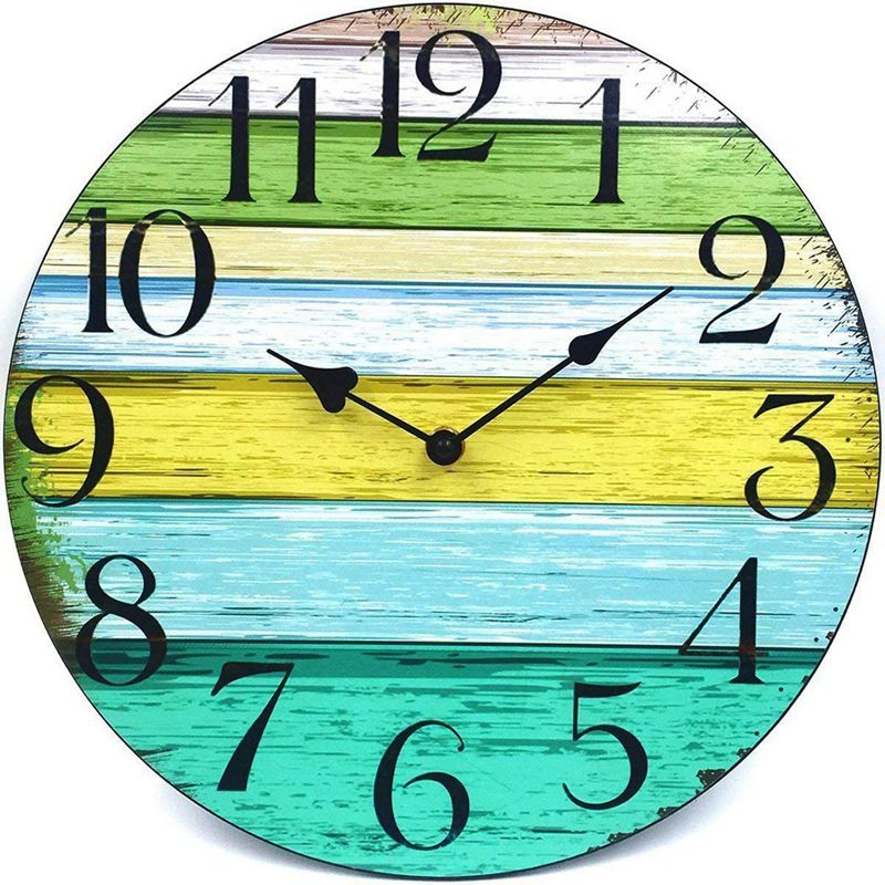 1X(12 inch Vintage Rustic Country Tuscan Style Decorative Round Wall Clock S6V6)