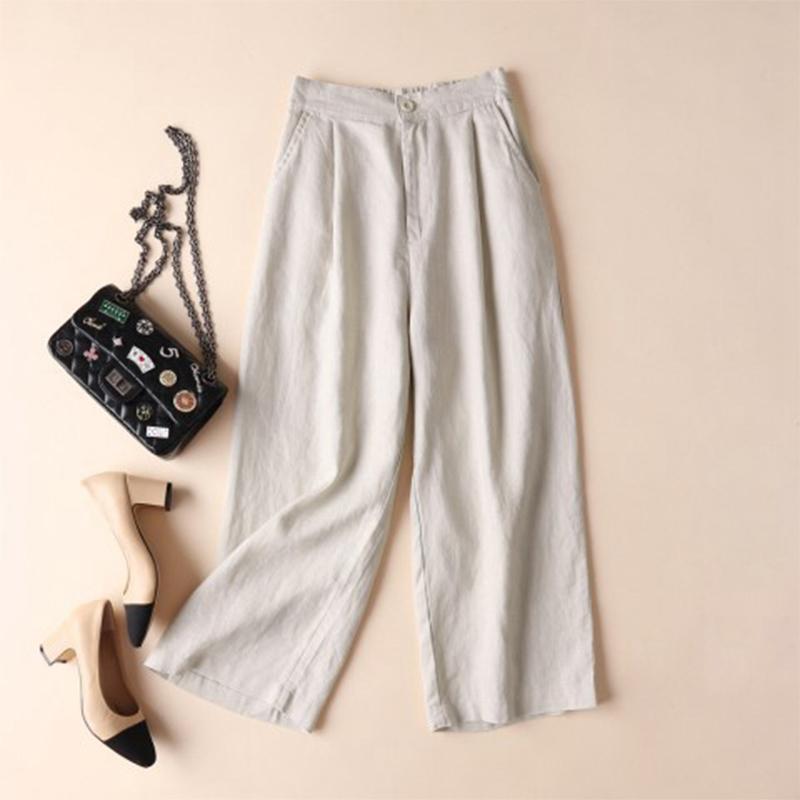 Automne-Nouveau-Coton-Lin-Jambe-Large-Femme-Pantalons-Bouton-Taille-Elastiq-N9Y6 miniature 3
