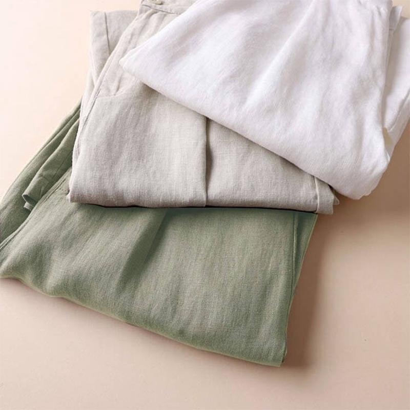 Automne-Nouveau-Coton-Lin-Jambe-Large-Femme-Pantalons-Bouton-Taille-Elastiq-N9Y6 miniature 4
