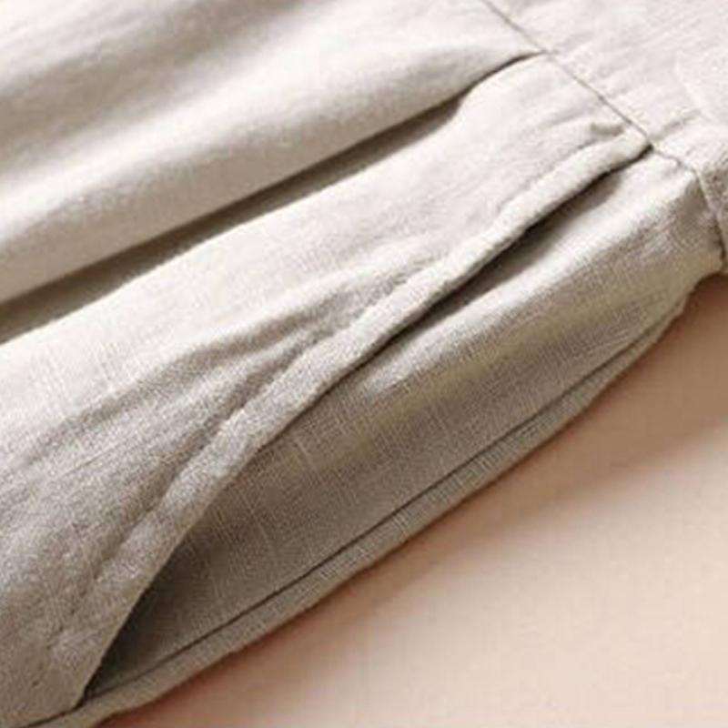 Automne-Nouveau-Coton-Lin-Jambe-Large-Femme-Pantalons-Bouton-Taille-Elastiq-N9Y6 miniature 5
