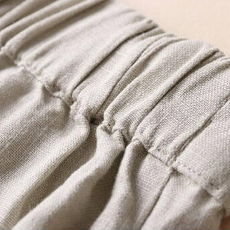 Automne-Nouveau-Coton-Lin-Jambe-Large-Femme-Pantalons-Bouton-Taille-Elastiq-N9Y6 miniature 6