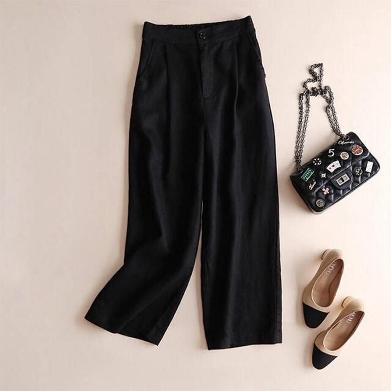Automne-Nouveau-Coton-Lin-Jambe-Large-Femme-Pantalons-Bouton-Taille-Elastiq-N9Y6 miniature 9