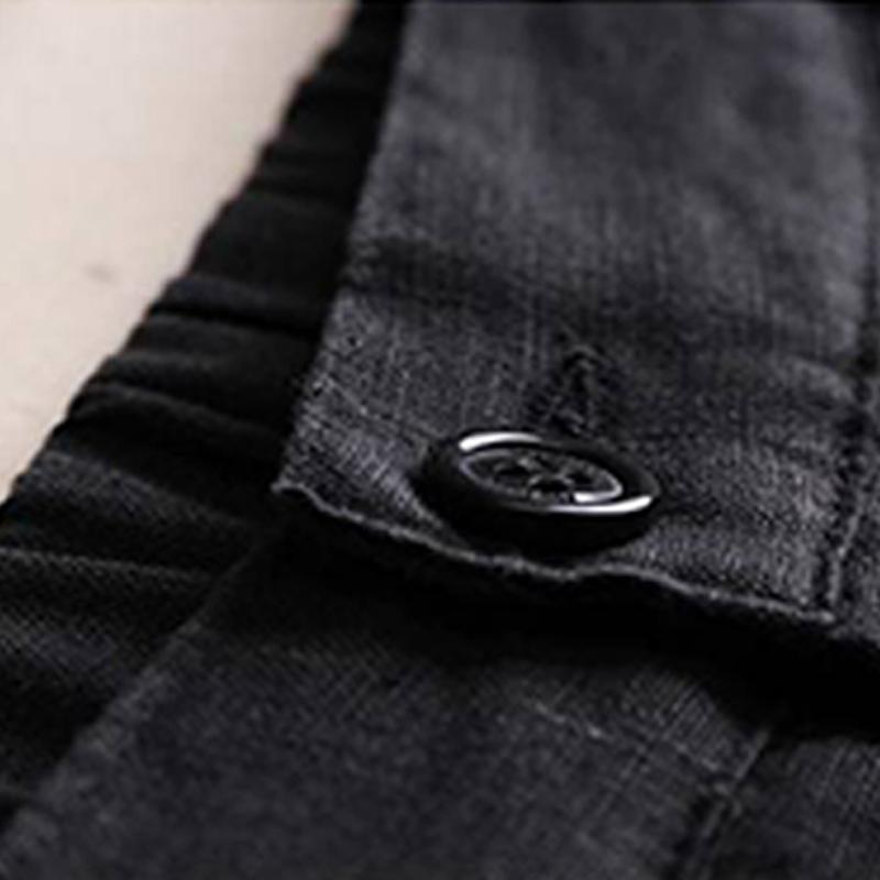 Automne-Nouveau-Coton-Lin-Jambe-Large-Femme-Pantalons-Bouton-Taille-Elastiq-N9Y6 miniature 10