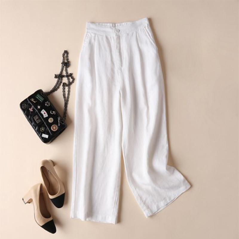 Automne-Nouveau-Coton-Lin-Jambe-Large-Femme-Pantalons-Bouton-Taille-Elastiq-N9Y6 miniature 14